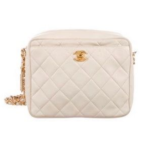 Vintage Chanel white quilted camera bag